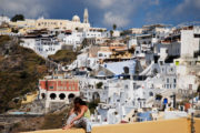 Panoramic view of the Catholic quarter of Fira, Fira, Santorini island (Thira), Greece.