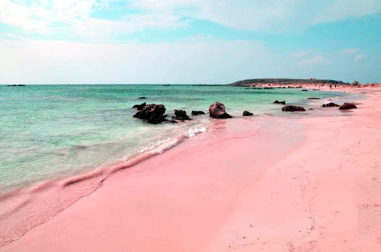 Pink-beach-and-sand-on-Elafonissi-beach-in-Crete-Greece